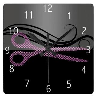 ヘアーサロンの時計 スクエア壁時計