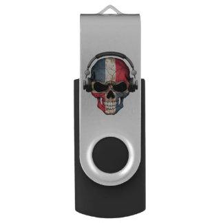 ヘッドホーンが付いているカスタマイズ可能なドミニコ共和国人Djのスカル USBフラッシュドライブ