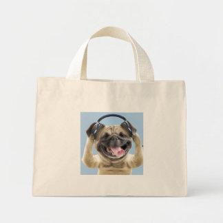 ヘッドホーンが付いているパグ、パグ、ペット ミニトートバッグ