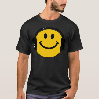 ヘッドホーンとのスマイリー Tシャツ