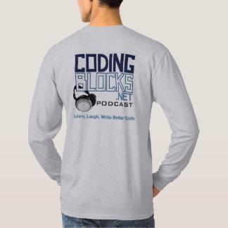 ヘッドホーンによってブロックのポッドキャストのマスコットをコードすること Tシャツ