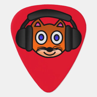 ヘッドホーンのデジタル芸術のグラフィックを持つかわいい猫 ギターピック