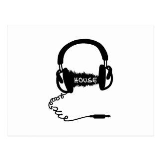 ヘッドホーンのヘッドホーンの可聴周波波のモチーフ: 家Musi ポストカード