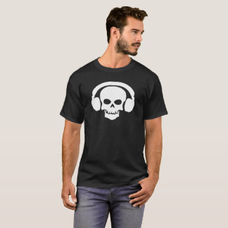 ヘッドホーンのワイシャツが付いているDJのスカル Tシャツ