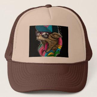 ヘッドホーンの帽子を持つクールな猫 キャップ