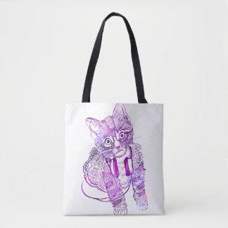 ヘッドホーンの絵のおもしろいでカラフルな猫 トートバッグ