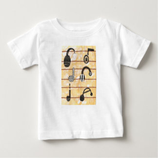 ヘッドホーンの音楽的な幼児のTシャツ ベビーTシャツ