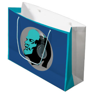 ヘッドホーンの(青い)大きいギフトバッグを持つレーニン ラージペーパーバッグ