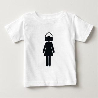 ヘッドホーンを持つ女の子 ベビーTシャツ