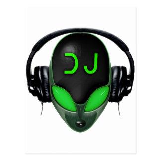 ヘッドホーンを持つ未来派DJ -緑のスタイル ポストカード