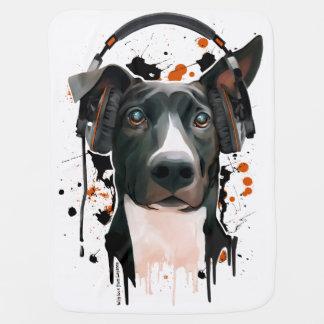 ヘッドホーンを持つ犬。 音楽愛好者 ベビー ブランケット