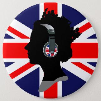 ヘッドホーン(イギリスの旗)ボタンを持つ女王 缶バッジ