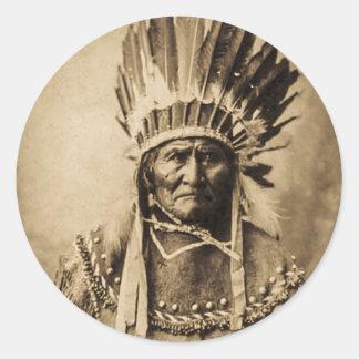 ヘッド服のヴィンテージのポートレートのセピア色のGeronimo ラウンドシール