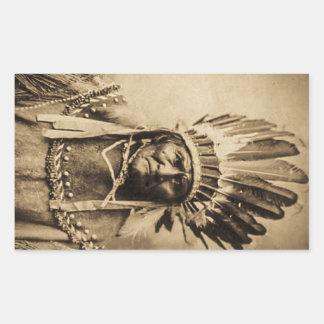 ヘッド服のヴィンテージのポートレートのセピア色のGeronimo 長方形シール