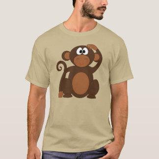 ヘッドTシャツを傷付けているかわいい漫画猿 Tシャツ