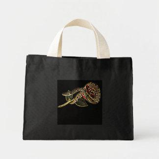ヘビのトートバックの黒 ミニトートバッグ