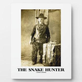 ヘビのハンター(ヴィンテージの写真のスネークスキン) フォトプラーク