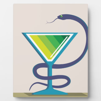 ヘビの毒薬が付いている色ガラス フォトプラーク