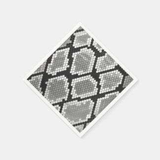 ヘビの灰色および薄い灰色のプリント スタンダードカクテルナプキン