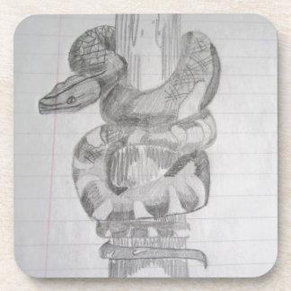 ヘビの鉛筆のスケッチのコースター コースター