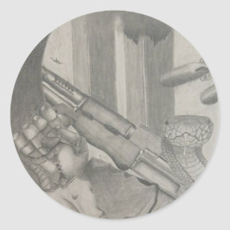 ヘビの鉛筆のスケッチのステッカー ラウンドシール