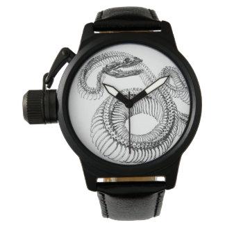 ヘビの骨組黒いゴム製革紐の腕時計 腕時計