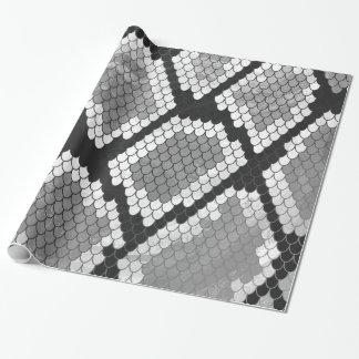 ヘビ灰色、白および黒のプリント ラッピングペーパー