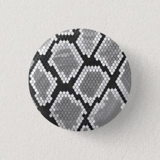 ヘビ灰色、白および黒のプリント 缶バッジ