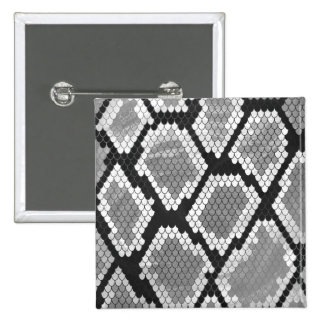 ヘビ灰色、白および黒のプリント 5.1CM 正方形バッジ