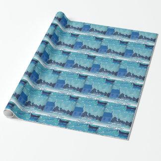 ヘブライ誕生日の青いボートのコラージュの覆いの紙 ラッピングペーパー