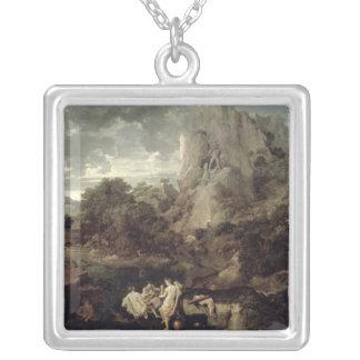 ヘラクレスおよびCacus、c.1656の景色 シルバープレートネックレス