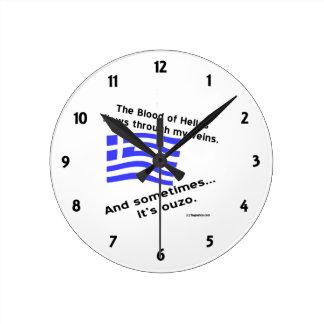 ヘラスおよびOuzo数の血 ラウンド壁時計