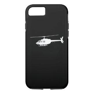 ヘリコプターのチョッパーのシルエットの飛行黒 iPhone 8/7ケース