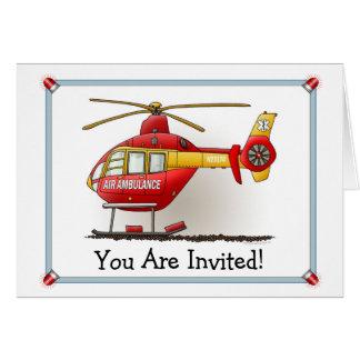 ヘリコプターの救急車のパーティの招待状 カード