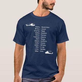 ヘリコプターの試験通話表のチョッパー Tシャツ
