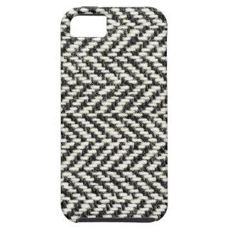 ヘリンボンツイードの素朴で黒く及び白いニットのプリント iPhone SE/5/5s ケース