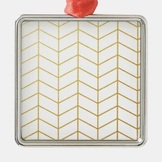 ヘリンボンパターン模造のな金ゴールドホイルの白い幾何学的 メタルオーナメント