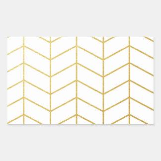 ヘリンボンパターン模造のな金ゴールドホイルの白い幾何学的 長方形シール
