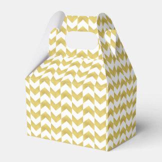 ヘリンボンパターン金ゴールド及び白い好意箱 フェイバーボックス