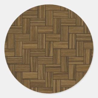 ヘリンボン木製パターン ラウンドシール