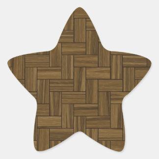 ヘリンボン木製パターン 星シール