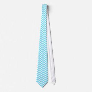ヘリンボン白く明るく青い夏のモダンなパターン カスタムネクタイ