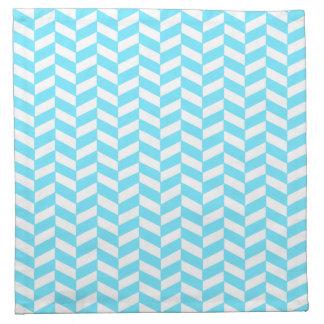 ヘリンボン白く明るく青い夏のモダンなパターン ナプキンクロス
