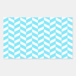 ヘリンボン白く明るく青い夏のモダンなパターン 長方形シール