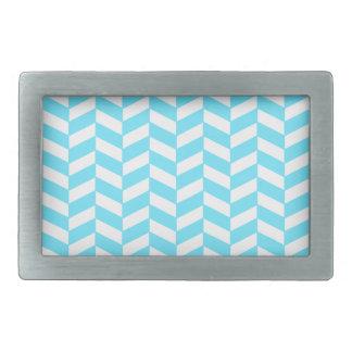 ヘリンボン白く明るく青い夏のモダンなパターン 長方形ベルトバックル