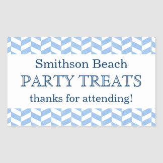 ヘリンボン青く白いビーチのパーティーのカスタムの好意 長方形シール