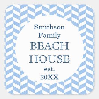 ヘリンボン青く白いビーチハウスのカスタムのステッカー シール
