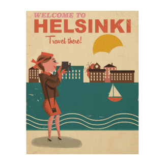ヘルシンキフィンランドのヴィンテージ旅行ポスターへの歓迎 ウッドウォールアート