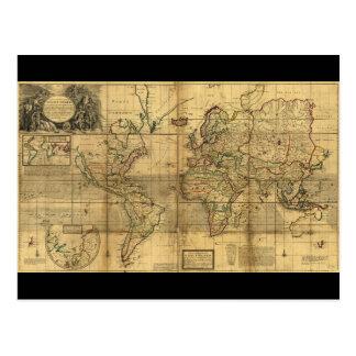 ヘルマンの情婦(1719年)による全世界地図 ポストカード