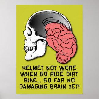 ヘルメットの悩障害のおもしろいな土のバイクのモトクロスのポスト ポスター